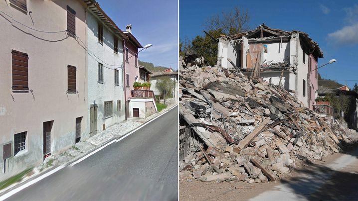 Vor dem Beben und danach: Ein Wohnblock in Borgo Sant'Antonio