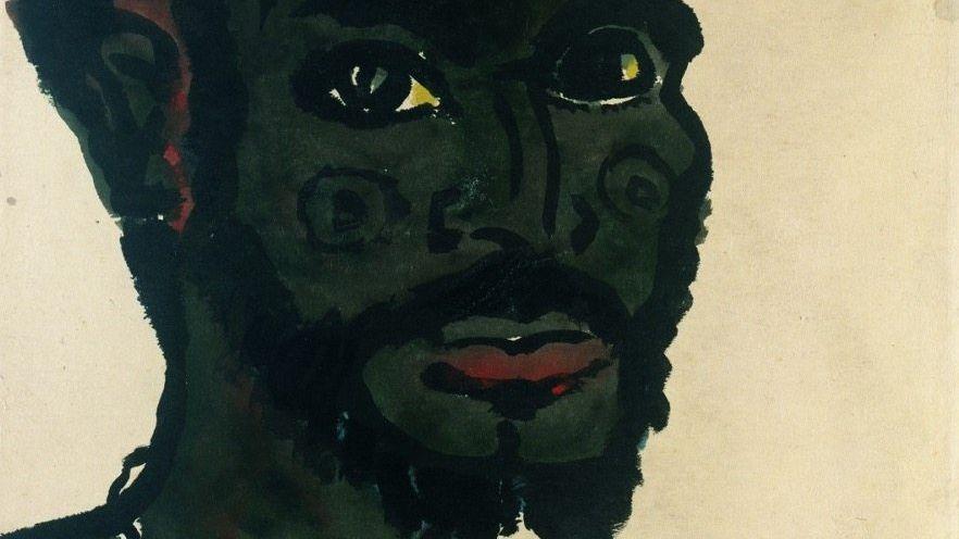 Von afrikanischen Vorbildern inspirierte Avantgarde-Kunst: »Männerkopf«, Emil Nolde, 1913/1914