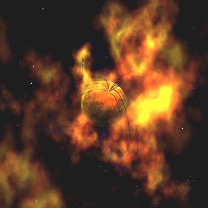 Magnetar (Illustration): Stellare Beben in der Trümmerwolke