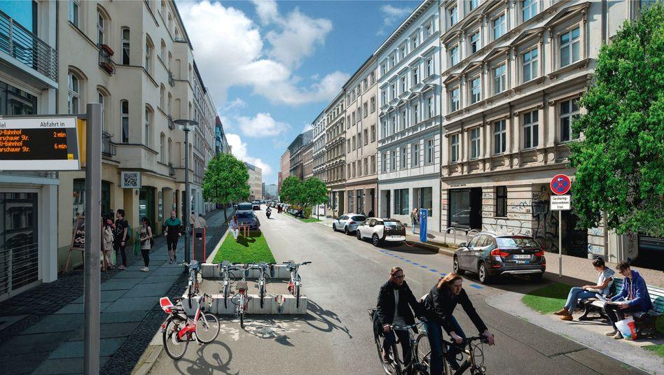 Viel Fahrrad, geteilte E-Autos - so stellt sich das Projekt Neue Mobilität Berlin den Verkehr der Zukunft vor