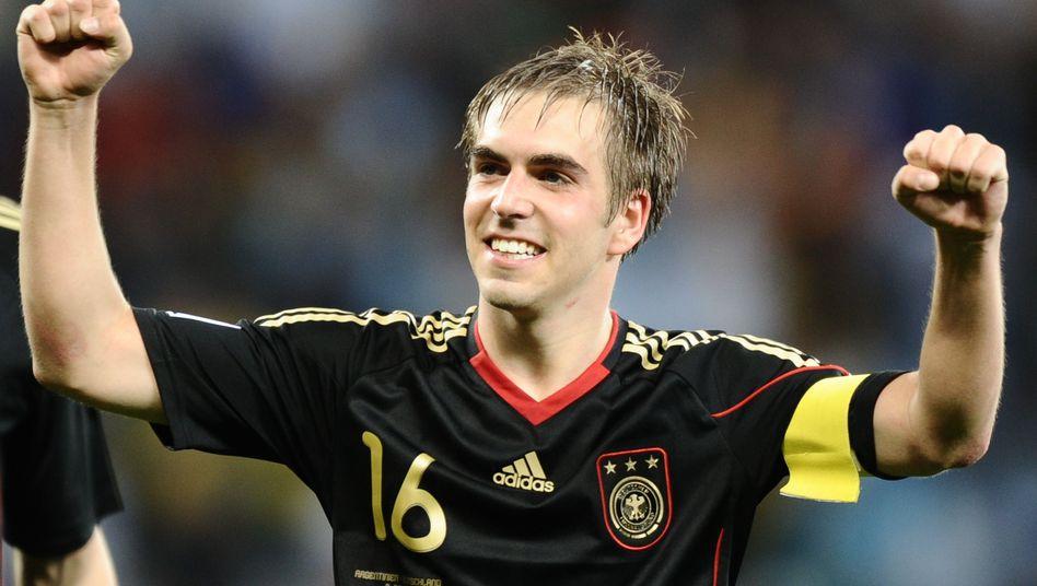 Philipp Lahm celebrating Germany's 4-0 win over Aregentina on Saturday.