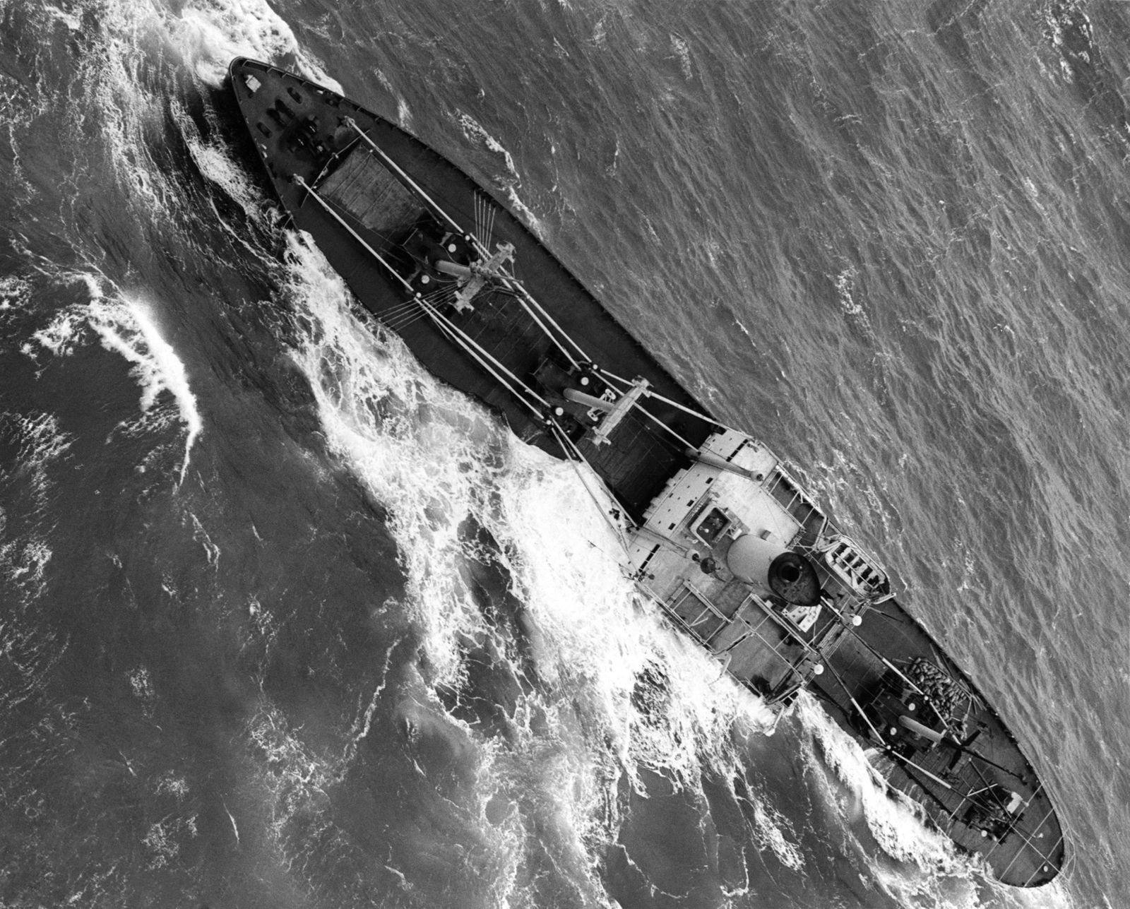 An aerial view of the Flying Enterprise being pounded by heavy seas. It was lost after it got caught in a late December hurricane in the mid-Atlantic in 1951. January 1952