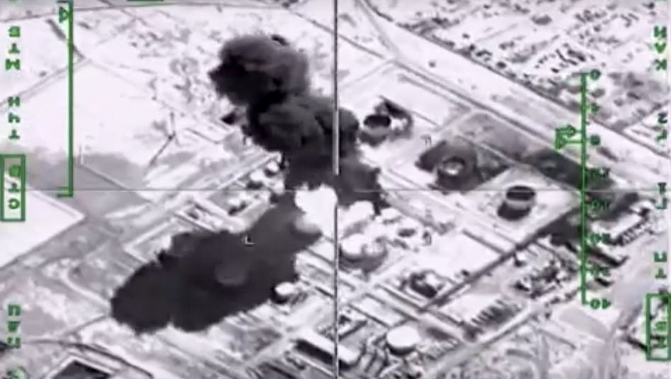 A Russian photo showing an attack on a supposed Islamic State oil facility in Syria.