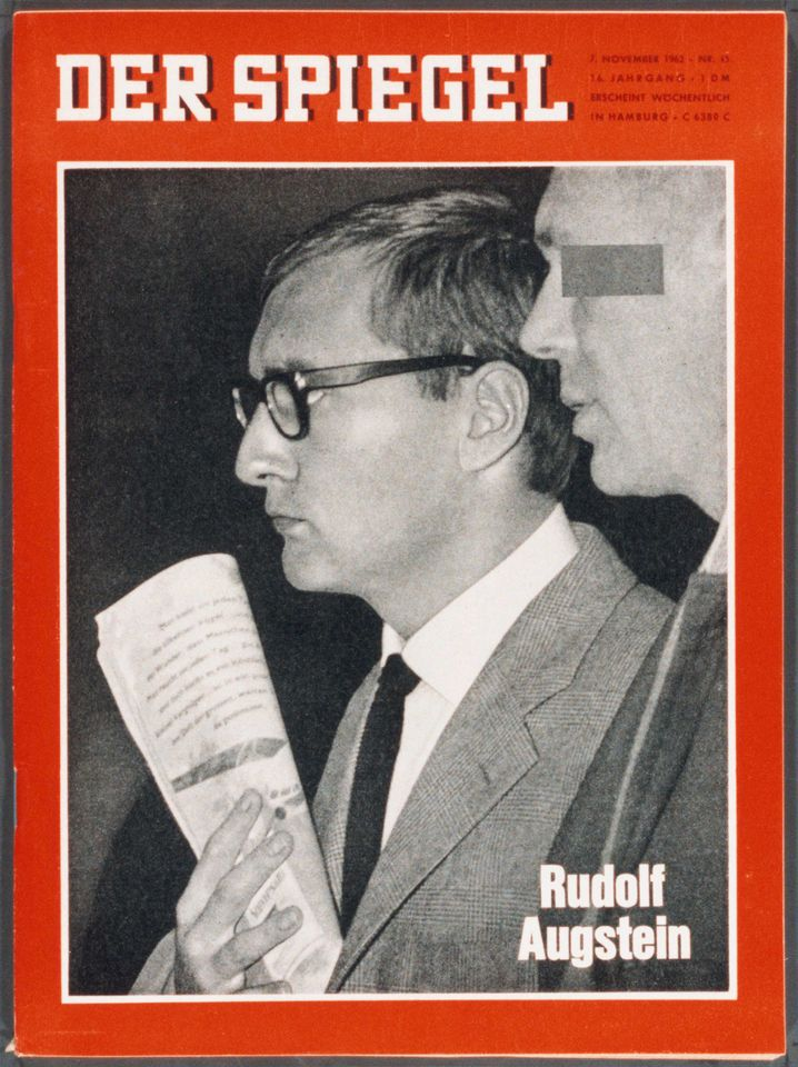 """The front page of the Nov. 7, 1962 issue of DER SPIEGEL shows founder Rudolf Augstein in Karlsruhe, West Germany, after his arrest in the so-called """"SPIEGEL Affair."""""""