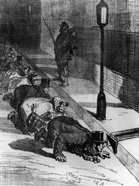Голод в Париже. В надежде на крыс: истощенные парижане заглядывают в канализацию Фото: Архив Халтона / Getty Images