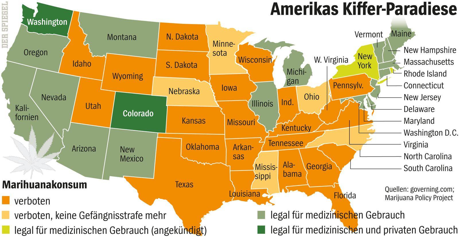 SPIEGEL 26/2014 Grafik USA / Marihuana Cannabis