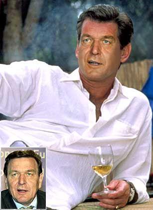 """Sein Name ist Schröder. Gerhard Schröder. Auf die Austrahlung kommt es an. Wir brauchen mehr Womanizer in der Politik. Empfehlen Sie Gerhard Schröder das James-Bond-Outfit, wählen Sie bitte im Vote """"Image Nr. 2""""!"""