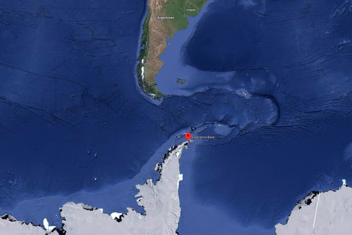 Lage der Forschungsstation Esperanza: Die Region gilt als eine der sich am schnellsten erwärmenden Gegenden der Erde