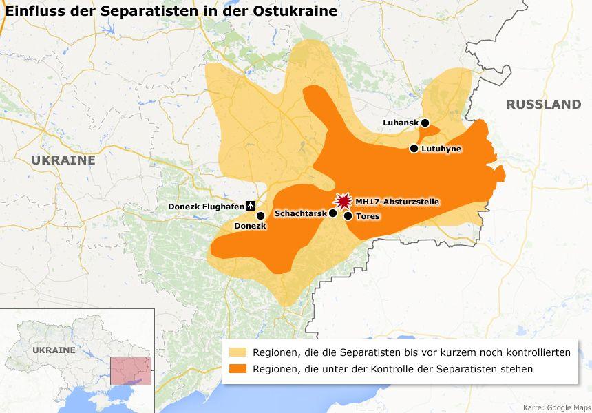 Karte - Einfluss der Separatisten in der Ostukraine