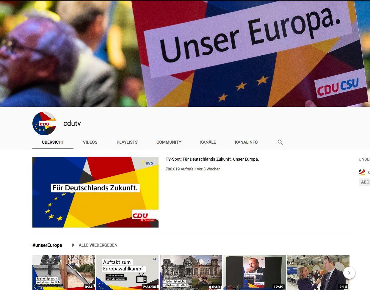 EINMALIGE VERWENDUNG youtube.com/user/cdutv