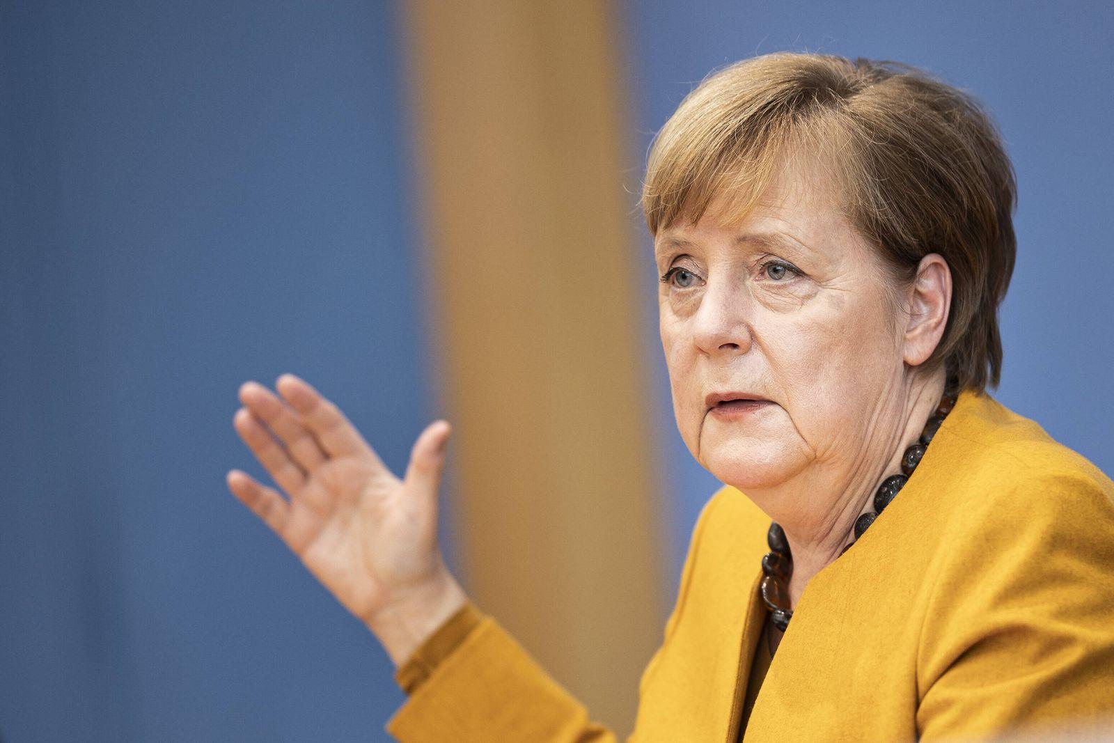 Angela Merkel, Bundeskanzlerin, aufgenommen im Rahmen einer Bundespressekonferenz nach der Sitzung des Corona-Kabinetts