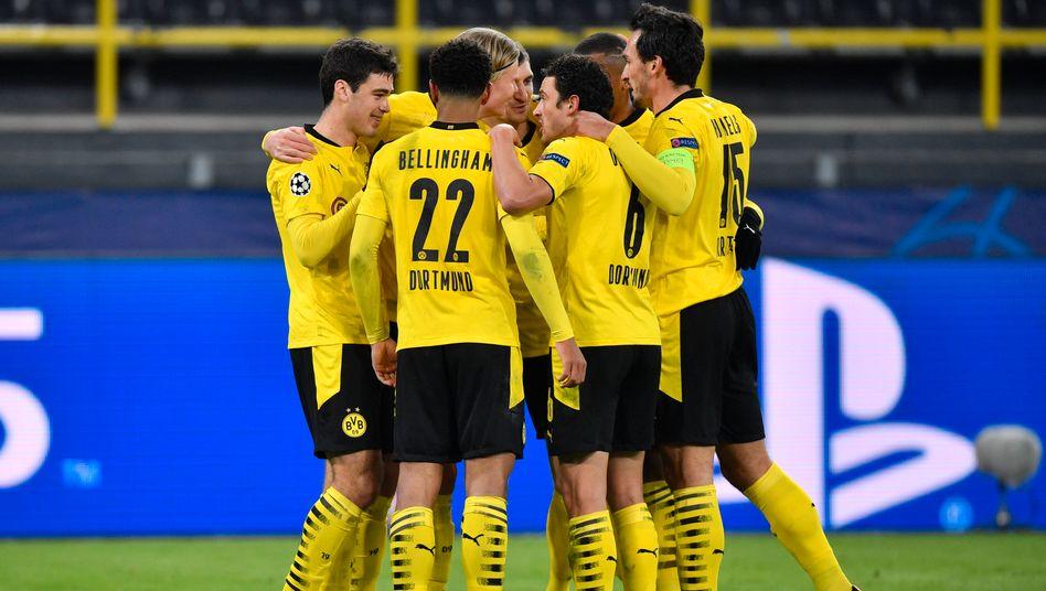 Gut aufgestellt: Der BVB um Torschütze Erling Haaland
