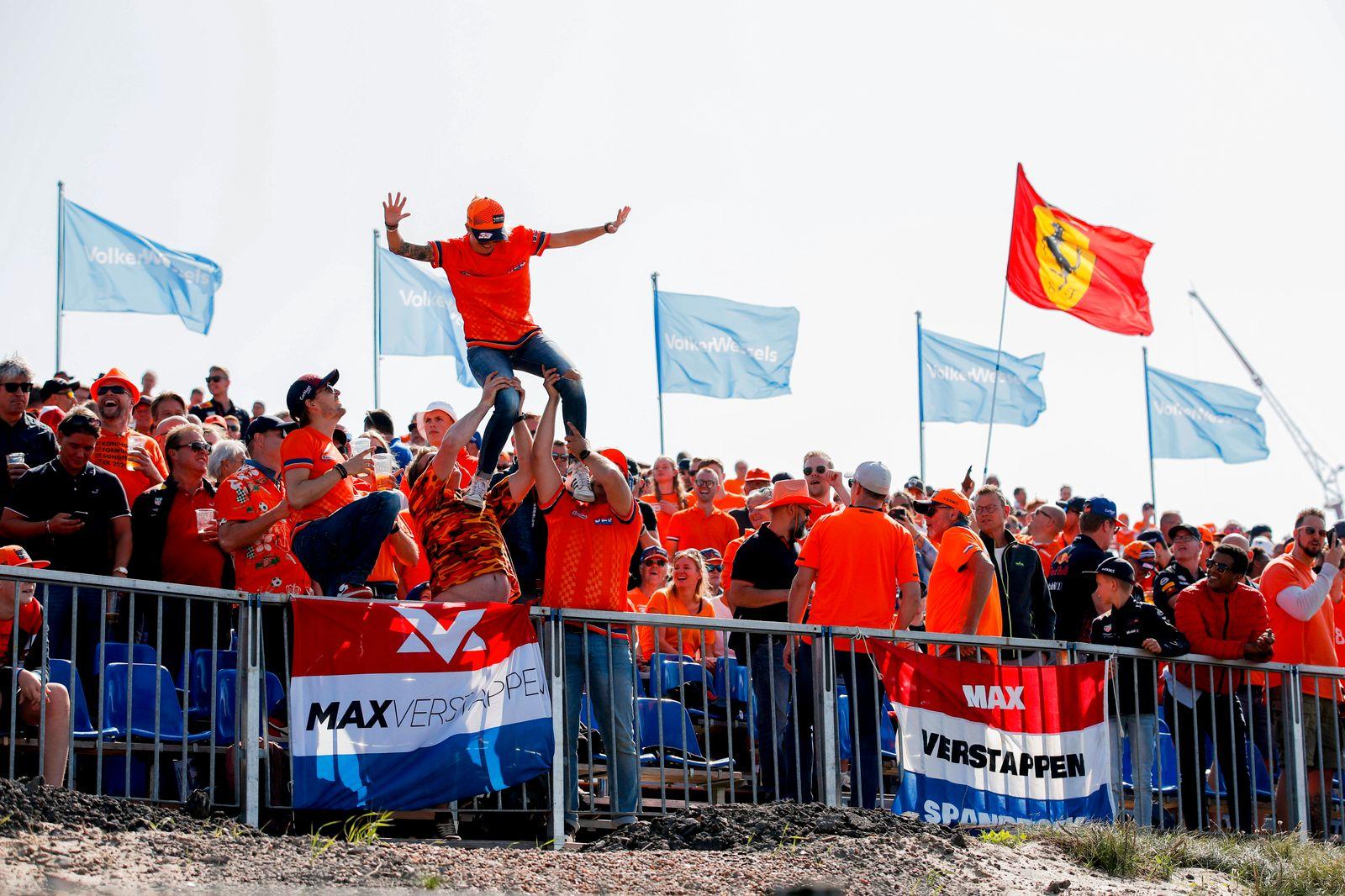 Formula 1 2021: Dutch GP CIRCUIT ZANDVOORT, NETHERLANDS - SEPTEMBER 04: Fans go wild for Max Verstappen, Red Bull Racing