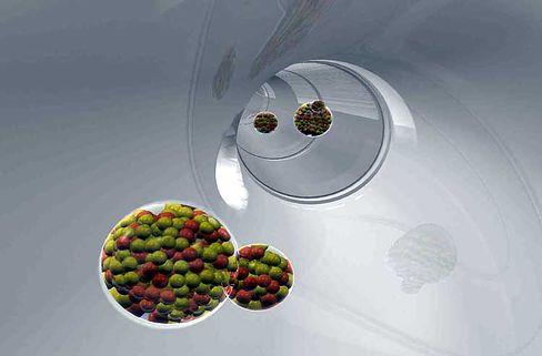 Flüchtiges Element (Illustration): Das Element 118, vorläufig Ununoctium genannt, fliegt zum Detektor