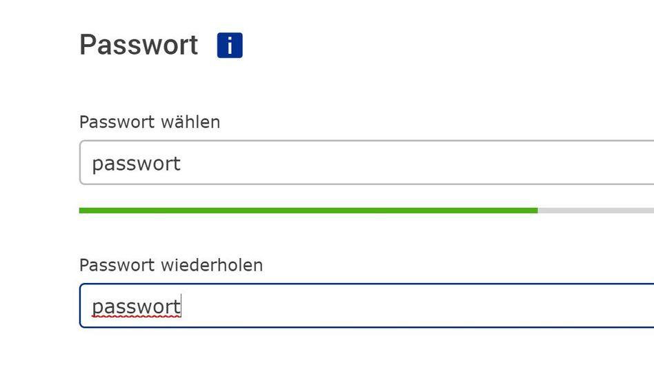 Passwort-Wahl bei GMX
