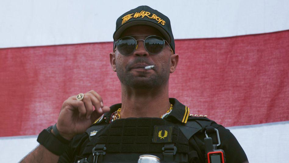 »Proud Boys«-Anführer Henry »Enrique« Tarrio im September bei einem Auftritt in Portland, Oregon