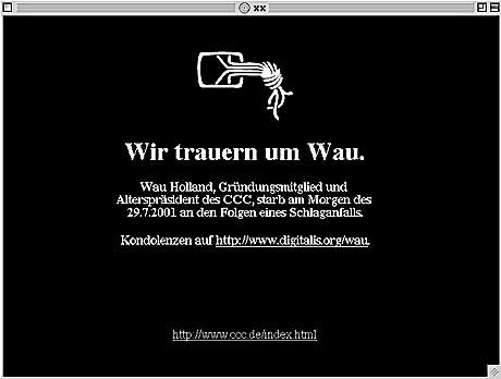 Trauer um Wau Holland: Startseite des CCC