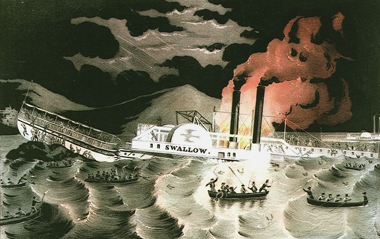 Loss_of_the_Steamboat_Swallow_while_on_her_trip_from_Albany_to_New-York,_on_Monday_Evening_April_7th_1845._When_opposite_Athens_she_struck_a_large_rock,_took_fire_broke_in_two_and_sunk-By_which_melancholy_occurrance,_it_RMG_PU6691