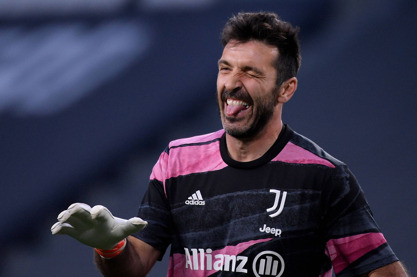 Gianluigi Buffon of Juventus FC reacts during he warm up prior to the Serie A football match between Juventus FC and Pa