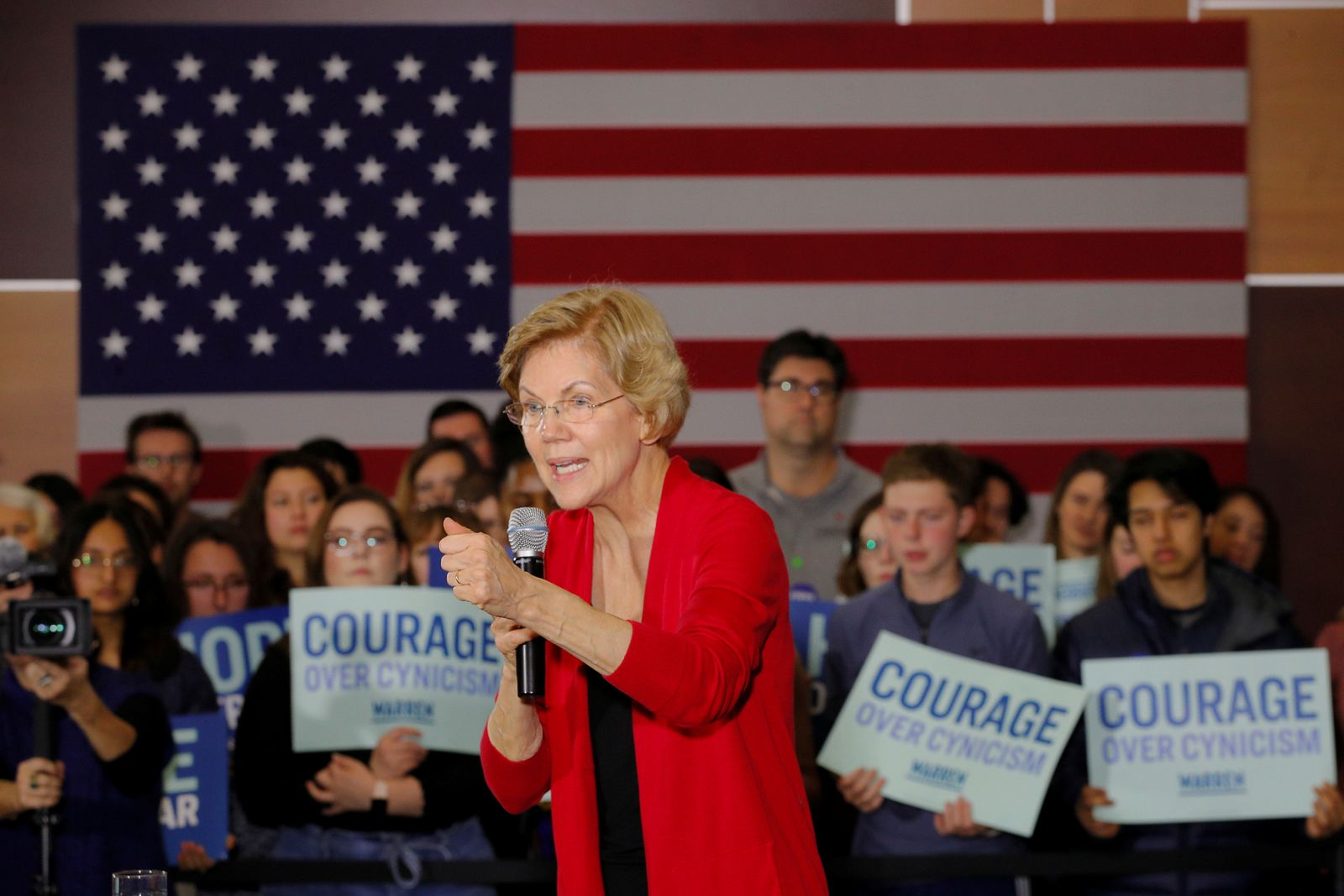 Democratic 2020 U.S. presidential candidate Warren holds a Get Out the Caucus rally in Indianola