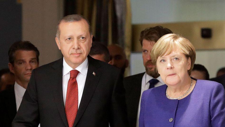 Erdogan mit Merkel im Mai 2017 anlässlich des G-20-Gipfels in Hamburg