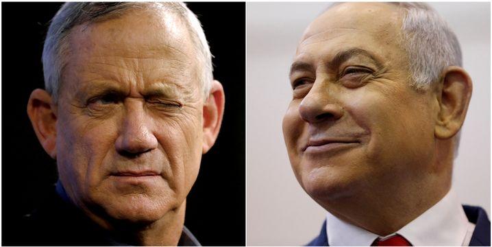 Benny Gantz vom Zentrumsbündnis Blau-Weiß (l.) und Likud-Chef Benjamin Netanyahu