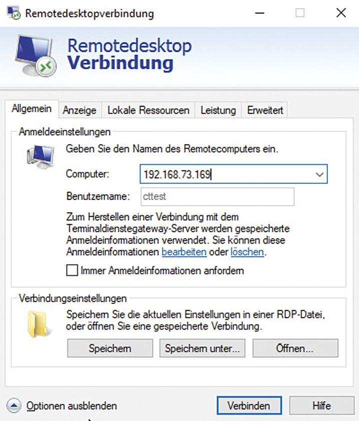 Im Remotedesktop-Client (mstsc.exe) gibt man die IP-Adresse oder den Computernamen an und startet die Verbindung