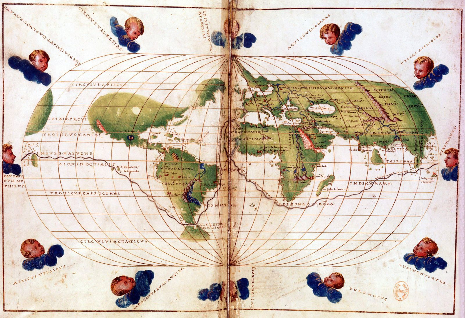 World map of route taken by Ferdinand Magellan c1480 1521 when he led first circumnavigation of t