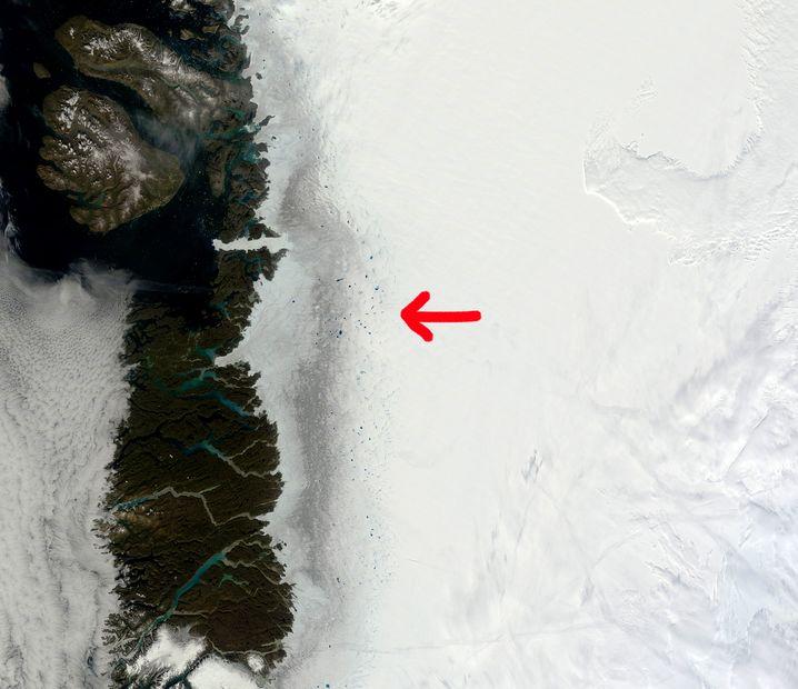 Dunkle Zone im Westen Grönlands