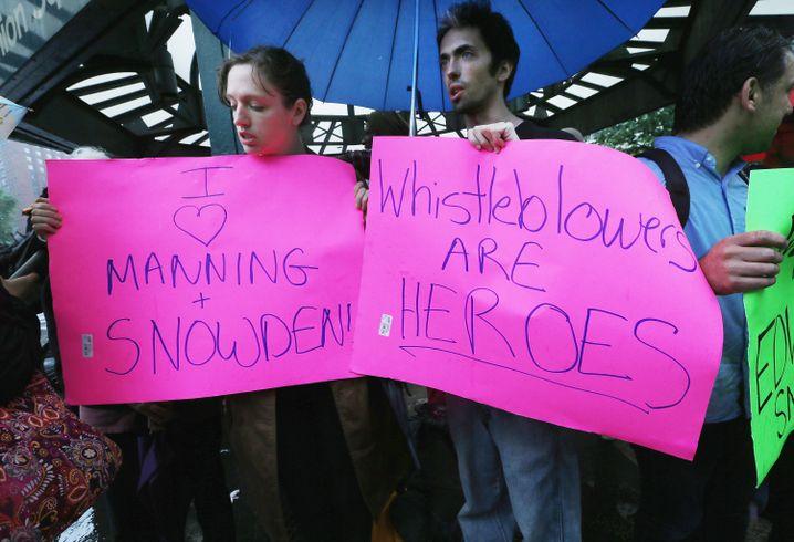 Demonstration für Whistleblower Manning und Snowden (Juni 2013)