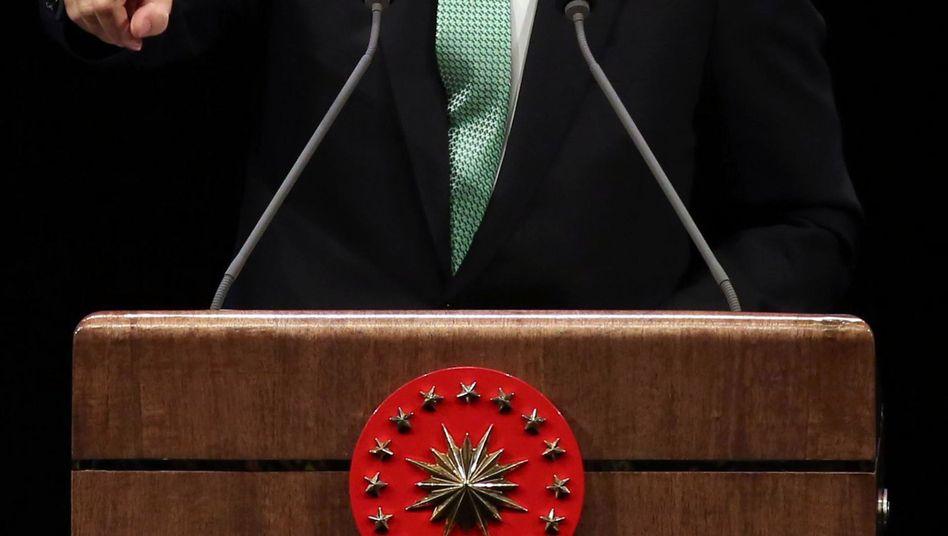 Türkischer Präsident Erdogan bei einer Rede am Freitag