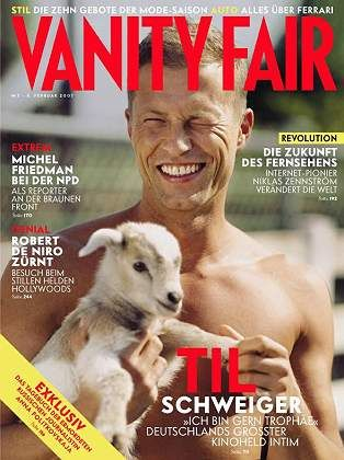 The new Vanity Fair in Germany made its debut on Wednesday with Til Schweiger and a goat on the cover.