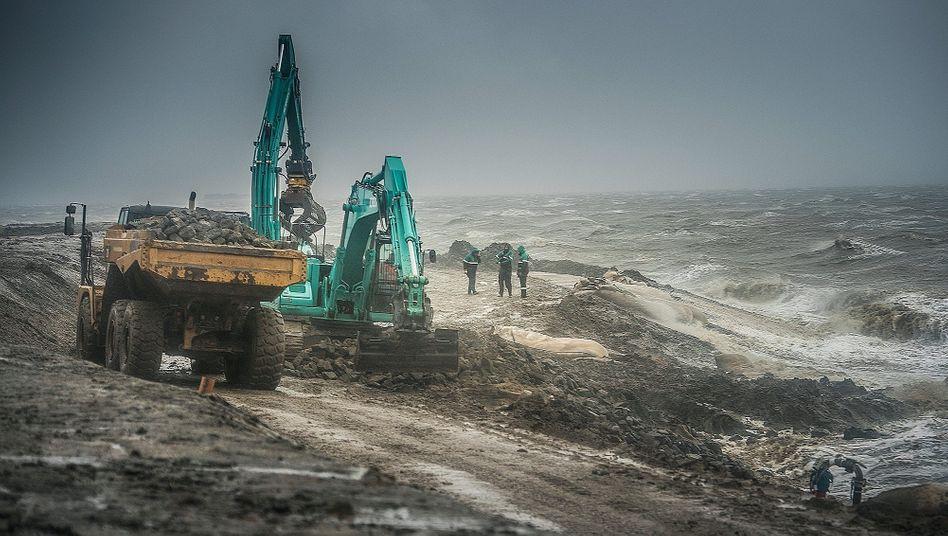 Arbeiten an einem Klimadeich nahe Schlüttsiel:3,2 Millionen Deutsche leben in überflutungsgefährdeten Küstenregionen