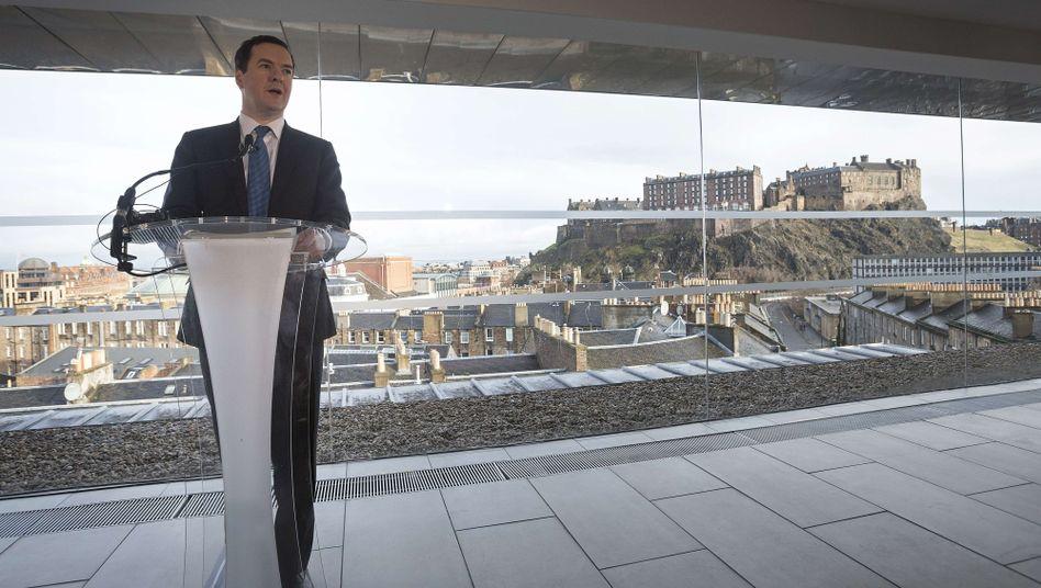 Schatzkanzler Osborne in Edinburgh: Droht mit dem Rauswurf aus dem Pfund