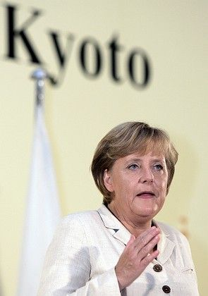 German Chancellor Angela Merkel was back in Kyoto after 10 years to campaign for action on climate change.