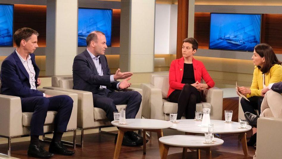 """Moderatorin Will (3.v.r.) mit ihren Gästen: """"Neuwahlen in Österreich - Dämpfer für die europäische Rechte?"""""""