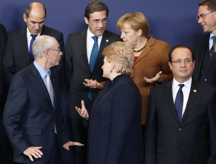 EU leaders in Brussels: Merkel has talked a lot about the euro crisis, but little has happened.