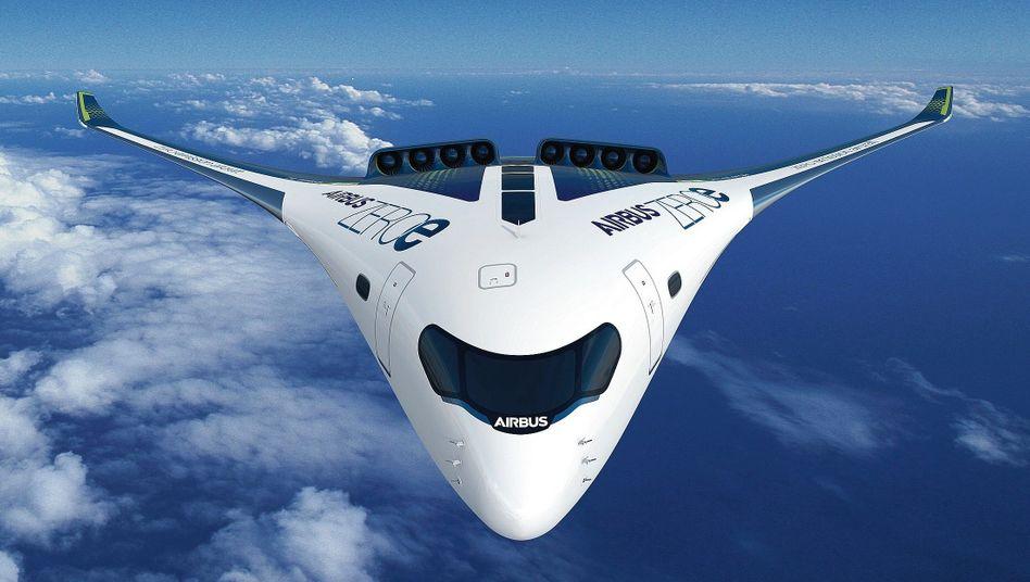 Wasserstoff-Airbus ZEROe (Simulation)