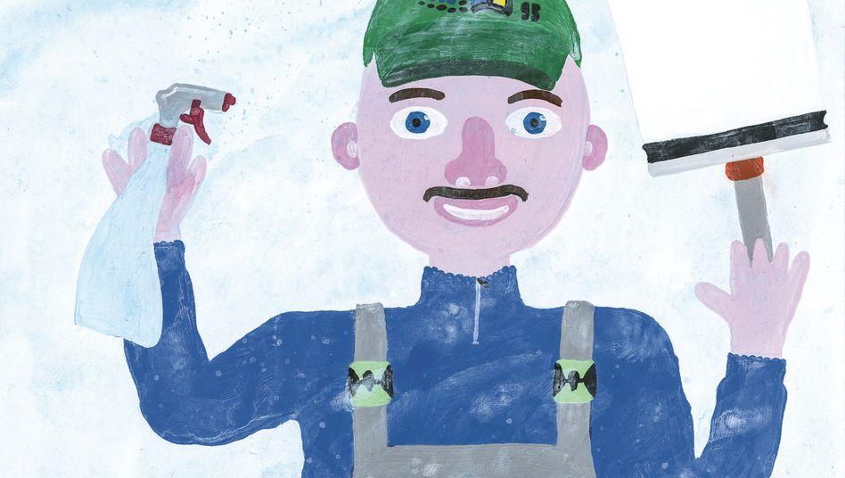 Gebäudereinigung ist eine von 156 Berufsbranchen, die Felix Bork illustriert hat