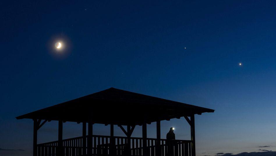 Der Mond (links), der Jupiter und die Venus am Nachthimmel in der Nähe von Budapest (Archiv)