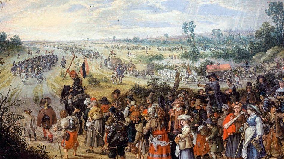 Treck fliehender Zivilisten Zeitgenössisches Gemälde von Sebastian Vrancx