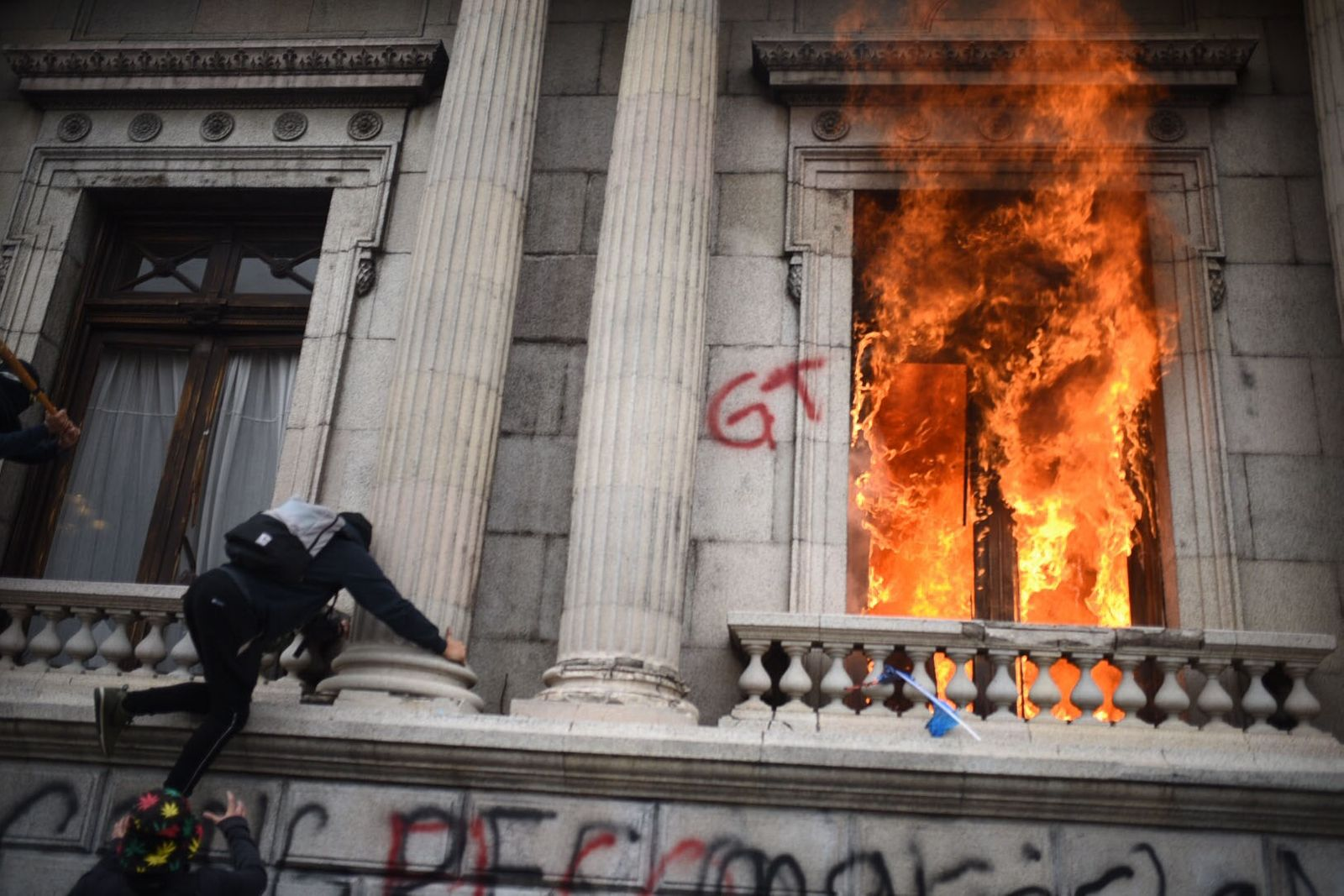 Guatemalan Congress set on fire during anti-government protest, Guatemala City - 21 Nov 2020