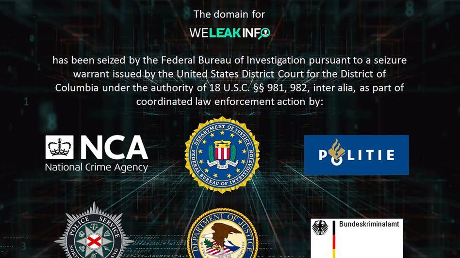 Seit der Abschaltung sind auf der Seite Weleakinfo.com nur noch Banner von Strafverfolgungsbehörden zu sehen