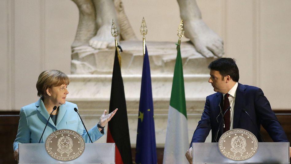 """Kanzlerin Merkel, Premier Renzi (Archivbild): """"Schluss mit Europa unter deutscher Führung"""""""