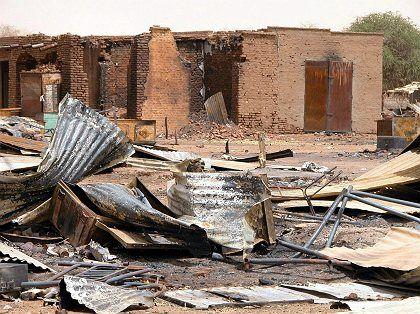 A destroyed village in Darfur