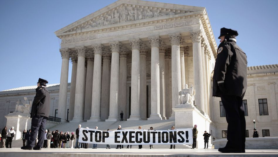 A protest against capital punishment in front of the Supreme Court building in Washington DC: The taking of human life is always an act of violence.