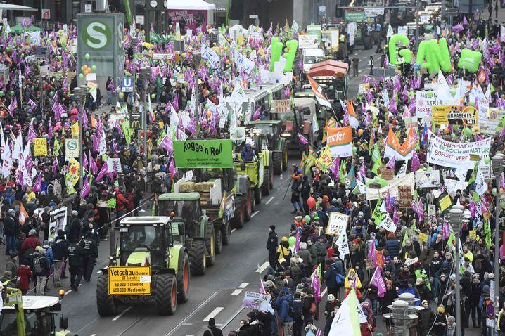 Mit 109 Schleppern kamen so viele Trecker wie nie zur Demo nach Berlin