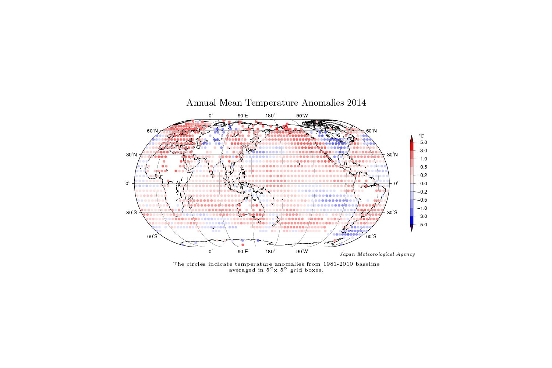 EINMALIGE VERWENDUNG Annual Mean Temperature Anomalies 2014