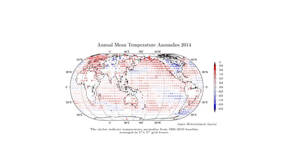 Temperaturabweichungen 2014: Rot zeigt Regionen, die wärmer waren als im Durchschnitt von 1981 bis 2010, blaue Gebiete waren kühler als diejenigen von 1981 bis 2010