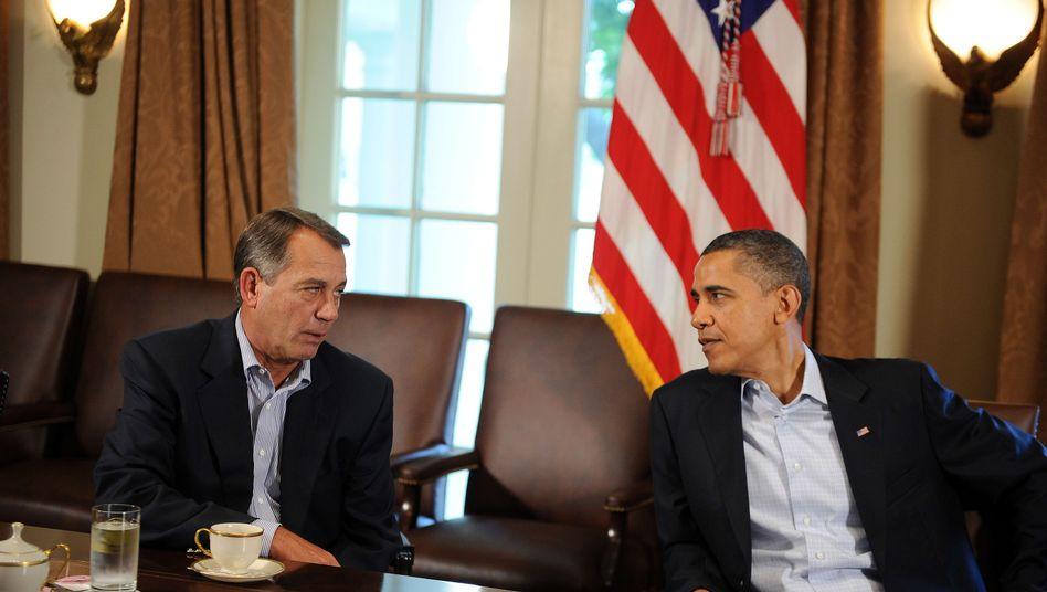 Präsident Obama (r.), Abgeordneter Boehner: Zähe Verhandlungen